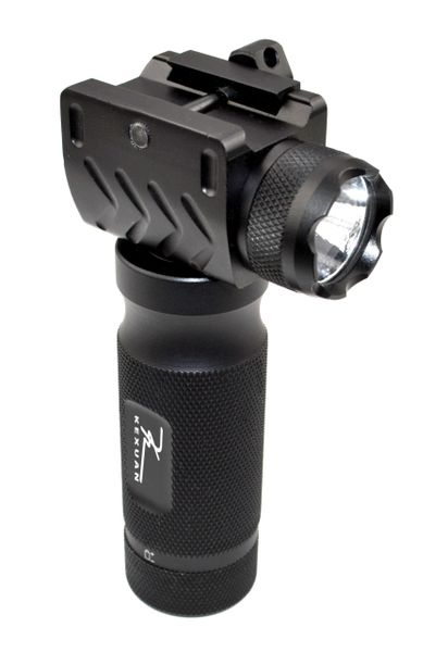 Foregrip Grip with Integrated Tac Flashlight, 1 piece - Fixed Vertical, Aluminum - Black (GPFL01)