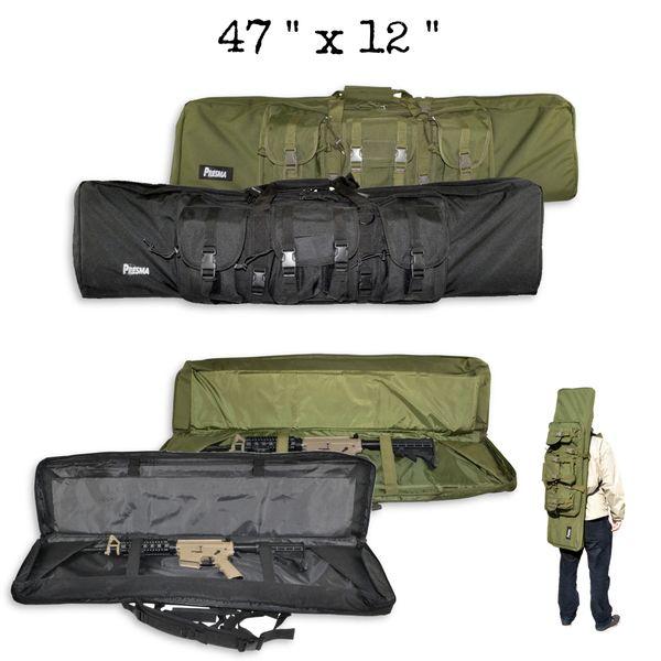 "47"" Soft Case for AR-15 Rifle Carbine Double Rifle / Gun Case, Nylon - Black or Green"