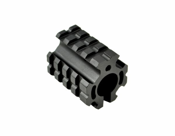 "AR-15 Low Profile 0.750"" Railed Gas Block with Pin and Mini Quad Rail Accessory Mount for 0.750"" .223 AR-15 Aluminum, Black"