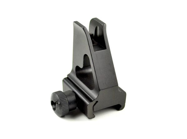 AR-15 Low Profile Receiver Height Flip-Up Front Backup Sight for Picatinny Rail or High Profile Gas Block - Aluminum - Black