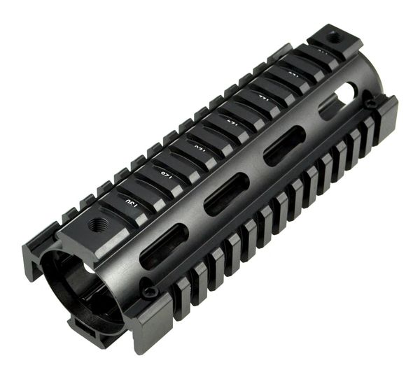 "6.7"" Carbine Length Drop-In Quad Rail Handguard Mount set with AR-15 Carry Handle; Picatinny Rail and Buffer Tube Kit with Butt Stock (Comm Spec) - Black"