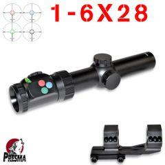 Presma 1-6X28 Rifle Scope 35mm Tube + Free 1pc Mount, Reticle Illumination, Anti-Cant Bubble, 1pc 6061-T6 Aluminum Tube/Housing, Tactical CQB 3 Gun