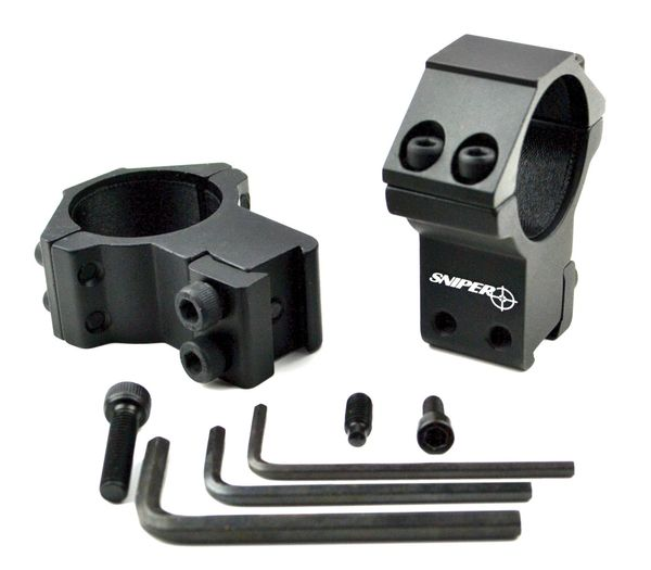 Dovetail 30mm Dia. HIGH Profile Scope Rings - Aluminum - Black