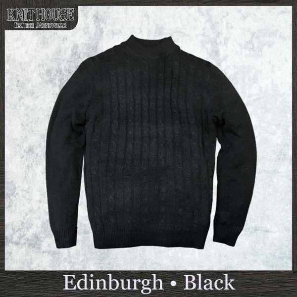 a84e44cc427 'Edinburgh' Men's Cable Knit Jumper Plain Fisherman Sweater High Neck