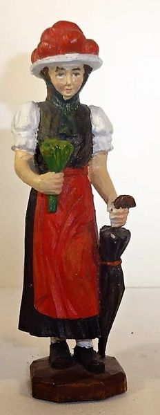 "UNKNOWN MANUFACTURER, BP1, 4"", BAVARIAN PEASANT GIRL, 1900, (COMPOSITION) (UNBOXED)"