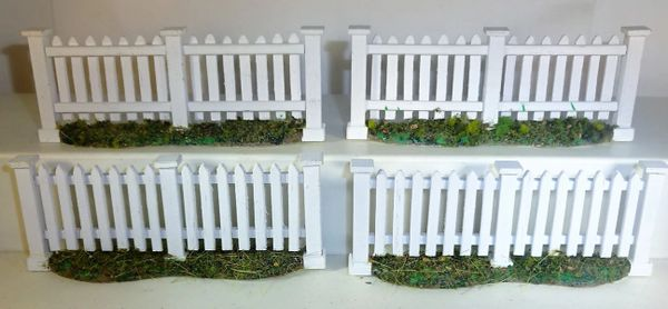 QUARTERMASTER CORP, DIORAMA 04, 1/32, WHITE PICKET FENCE EACH 3 3/4' LG., (UNBOXED)