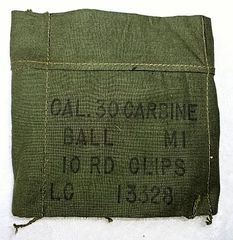 """US Korean War M-1 Carbine Ammunition Bandoleer, """"Cal 30 M1 10 RD Clips LC13338 Harian Co July 1952"""" (2 AVAILABLE)"""