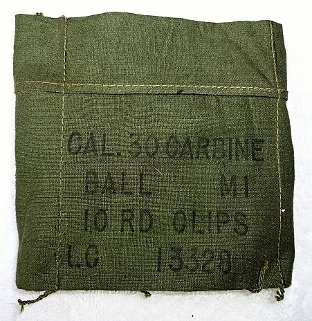 "US Korean War M-1 Carbine Ammunition Bandoleer, ""Cal 30 M1 10 RD Clips LC13338 Harian Co July 1952"" (2 AVAILABLE)"