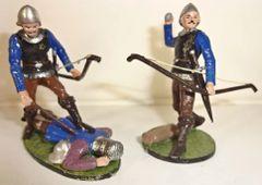 Banners Forward, BF9, 1/32, English Long Bowmen, With dead Frenchman, circa 1346, (Boxed)