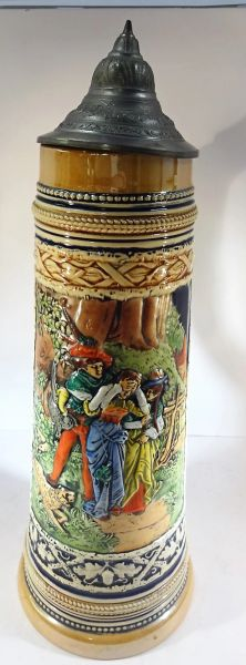 GERMAN BEER STEIN, 1 1/2 LT., GERZ #1519, WEST GERMANY, LANDESKNECHT HUNTER WITH DISDRESSED SWEATHEART