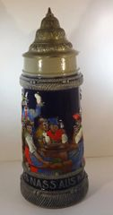 """GERMAN BEER STEIN, 1 LT., GERMAN PEASANTS DRINKING """"HOCH EDLES NASS AUS KUHLEN FASS"""" (HOLD HIGH SOMETHING WET TAKEN FROM A COLD FAUSET)"""