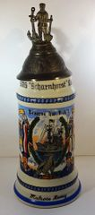 GERMAN REGIMENTAL BEER STEIN, 1/2 LT., SMS SCHARNHORST, KIEL GERMANY 1910, MATROSE REMY, (POST WWII)