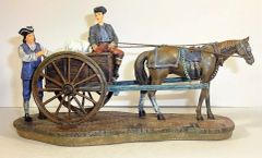 WILLIAMSBURG COLLECTIBLES, WB-08, 1/30, PEDDERLERS WITH HORSE CART CARRYING GRAIN BAGS, (UNBOXED)