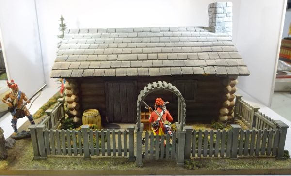 """QUARTERMASTER CORP, LOG CABIN 1, 1/32 & 1/30, BASE 12""""X12"""",(UNBOXED) SOLDIERS NOT INCLUDED, additional shipping applies"""