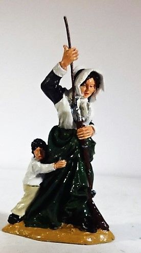 QUARTERMASTER CORP, CONT 12, 1/32, CONTINENTAL LADY LOADING MUSKET, (UNBOXED)