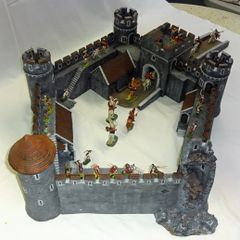 "MEDIEVAL CASTLE SCENE, 5, 28 mm to 40 mm, 5 WALL SECTIONS, (26""x34"") (INCLUDES FREE (3) 40MM MTD. ELASTOLIN FIGURES)"