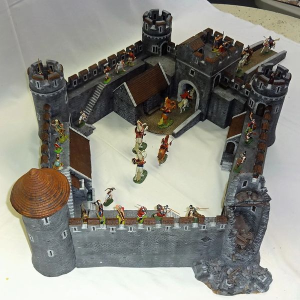 "MEDIEVAL CASTLE SCENE, 5, 28 mm to 40 mm, 5 WALL SECTIONS, (26""x34"" x 10 1/2"" high) (INCLUDES FREE (3) 40MM MTD. ELASTOLIN FIGURES)"