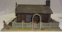 """LOG CABIN, 1, WITH FENCE, 12"""" X 12"""", (1/30 & 1/32 FIGURES NOT INCLUDED (UNBOXED)"""