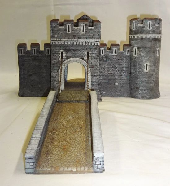 "MEDIEVAL CASTLE, 1, MAIN GATE, 28 mm to 40 mm, 13"" long x 10 1/2"" wide x 7 1/2"" high, BRIDGE 3 1/2"" wide x 8"" long (UNBOXED)"