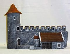 "MEDIEVAL CASTLE, 5, WALL WITH STABLE BUILDING, 28 mm to 40 mm, 13"" LG. (UNBOXED)"