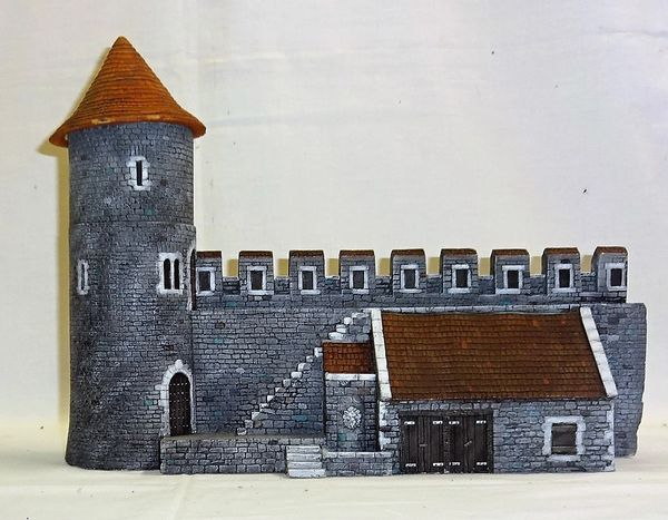 "MEDIEVAL CASTLE, 5, WALL WITH STABLE BUILDING, 28 mm to 40 mm, 13"" long. x 5"" wide x 10"" high (UNBOXED)"