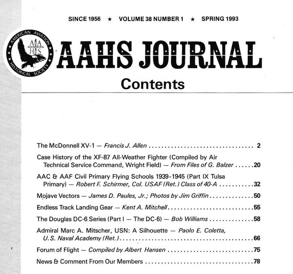 AAHS JOURNAL, AMERICAN AVIATION HISTORICAL SOCIETY, VOL. 38, NO. 1