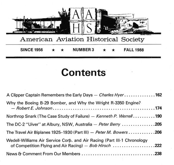 AAHS JOURNAL, AMERICAN AVIATION HISTORICAL SOCIETY, VOL. 33, NO. 3
