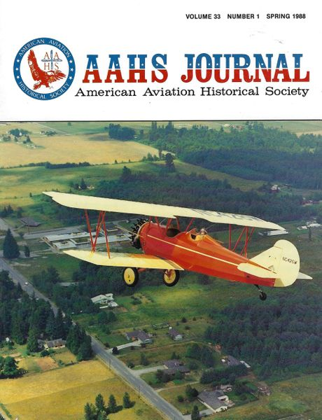 AAHS JOURNAL, AMERICAN AVIATION HISTORICAL SOCIETY, VOL. 33, NO. 1