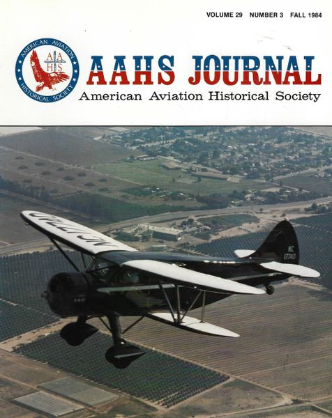 AAHS JOURNAL, AMERICAN AVIATION HISTORICAL SOCIETY, VOL. 29, NO. 3