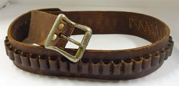 "LEATHER CARTRIDGE BELT, 1, 1 1/2"" WIDE X 30"" LG."