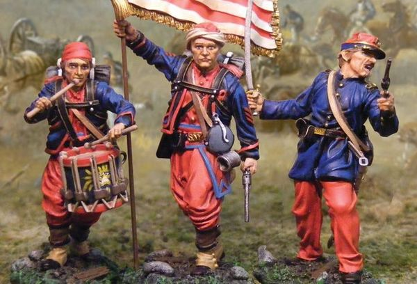 The COLLECTORS SHOWCASE, CS00495, 54 mm, 5th New York Infantry Command set