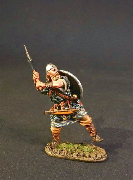 John Jenkins Designs, VIK-14B, Dark Ages, 1/30th, Viking Warrior Swinging Battle Axe (1 pcs)