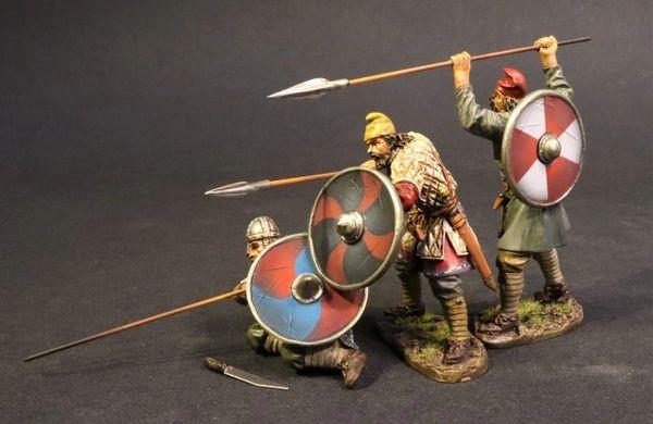 John Jenkins Designs, SX-171819B, Dark Ages, 1/30th, Anglo Saxon/Danes, Saxon Fyrdmen (4 pcs)