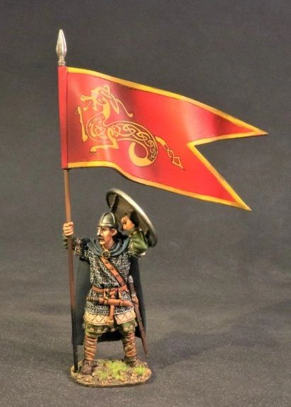John Jenkins Designs, SX-05, Dark Ages, 1/30th, Saxon Housecarl with Banner (2 pcs)