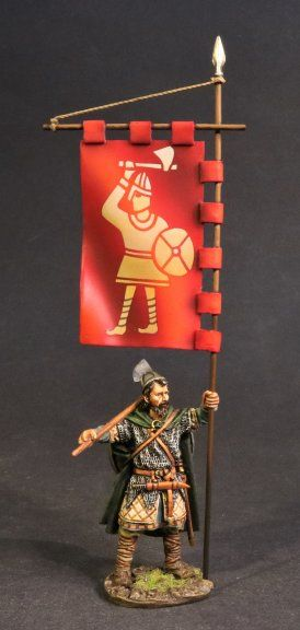 John Jenkins Designs, SX-04, Dark Ages, 1/30th, Saxon Housecarl with King Harold's Banner (2 pcs)