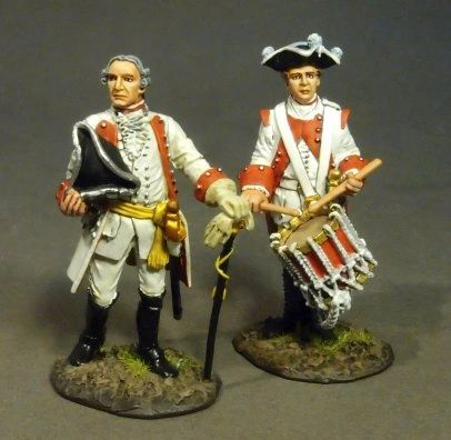 John Jenkins Designs, ROT-10, Seven Years War, 1/30th, Roth Wurzburg Infantry Officer and Drummer (2 pcs)