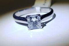 18WG Princess Cut Diamond Solitaire Ring. Certified Diamond