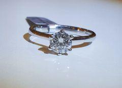 18WG Diamond Solitaire Ring. Certified Diamond