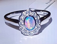 9YG Opal and Diamond Cluster Ring