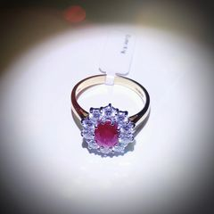 18YG Ruby and Diamond Cluster Ring