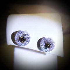 Chocolate and White Diamond Earrings