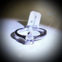 18WG Pear Shaped Solitaire Ring