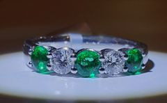 18WG Emerald and Diamond Eternity Ring