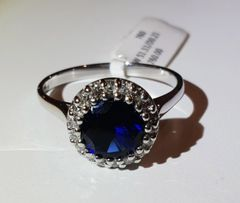 9WG Sapphire and Diamond Cluster Ring