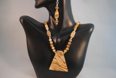 Picture Jasper Pendant Necklace and Earrings