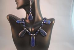 Lapis Lazuli Pendant Necklace and Earrings