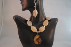 Ammonite and Petrified Wood Necklace and Earringd