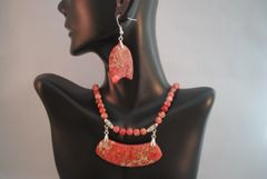 Sea Sediment Jasper Pendant Necklace and Earrings