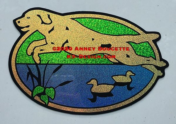 "Labrador Retriever ""Scrabble"" 9"" Oval Hunting Magnet - Choose Color"