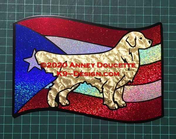 Golden Retriever on Puerto Rico Flag Magnet : Choose Sitting or Standing Dog